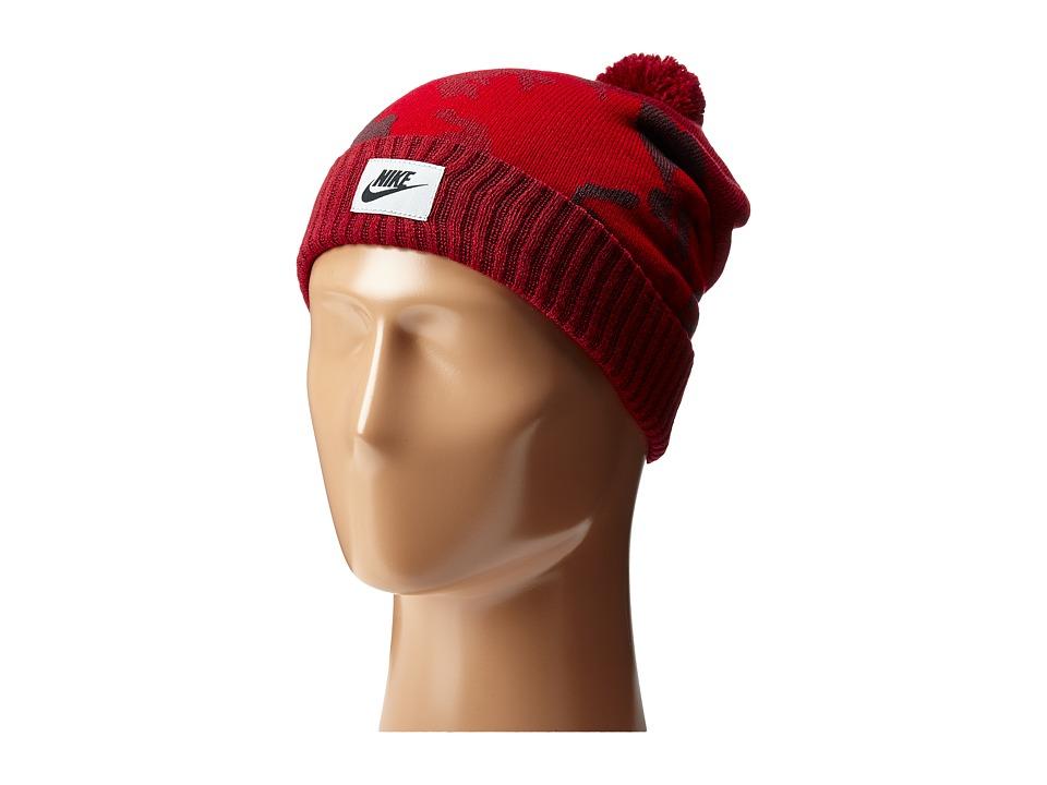Nike - Sportswear Camo Pom Beanie (Team Red/Gym Red/Mahogany) Beanies