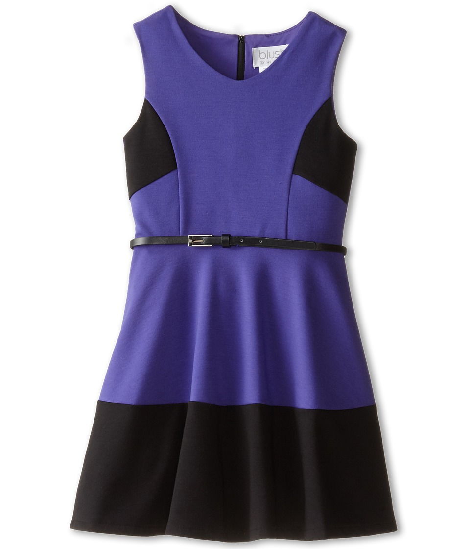 Us Angels - Sleeveless Ponte Bleted Color Block and Full Skirt (Big Kids) (Eggplant) Girl's Dress