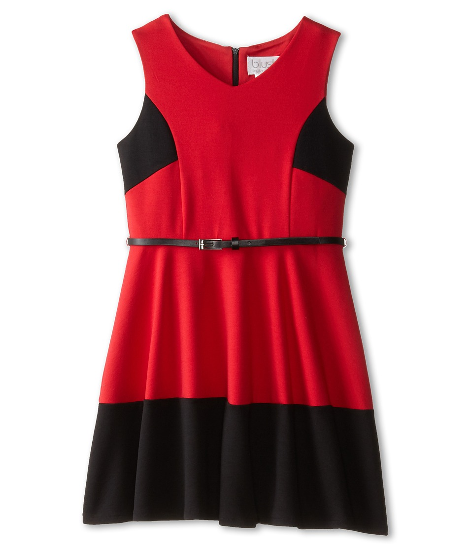 Us Angels - Sleeveless Ponte Bleted Color Block and Full Skirt (Big Kids) (Garnet) Girl's Dress