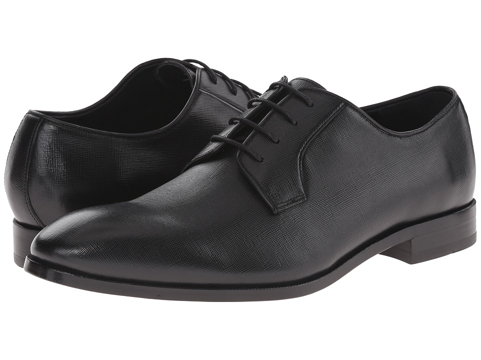Gordon Rush - Hutton (Black Saffiano) Men's Plain Toe Shoes