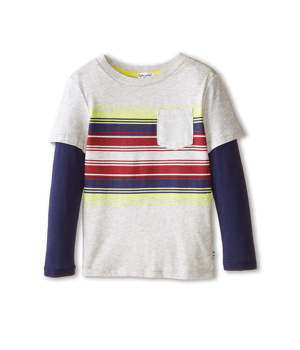 Splendid Littles - Long Sleeve Printed Stripe Tee (Little Kids) (Grey Heather) Boy