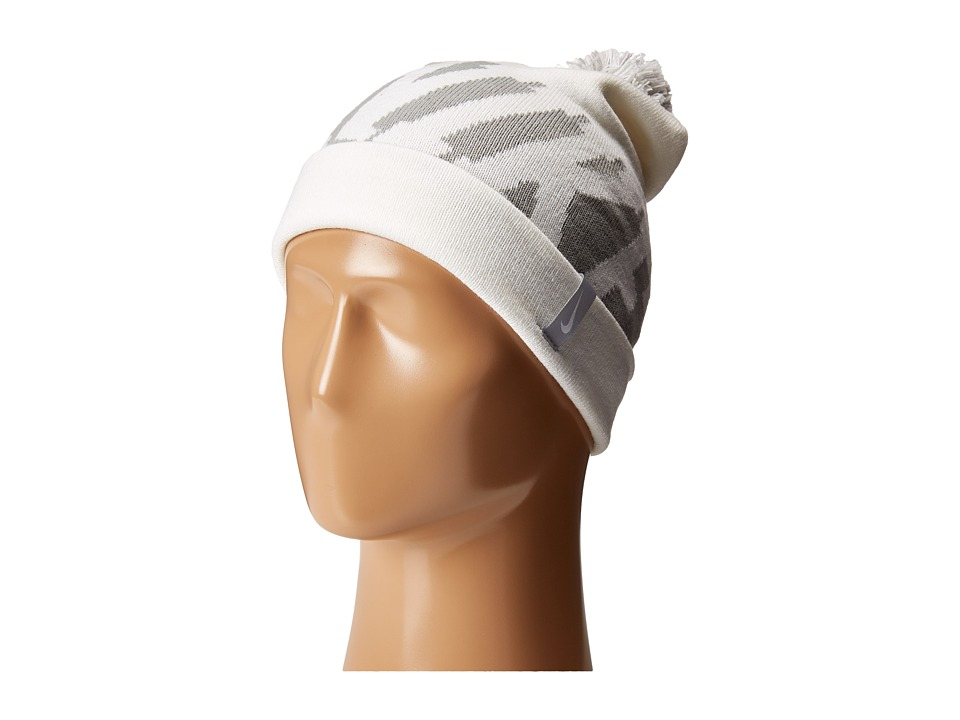 Nike - Seasonal Pom Beanie (Big Kids) (White/Wolf Grey/White) Beanies