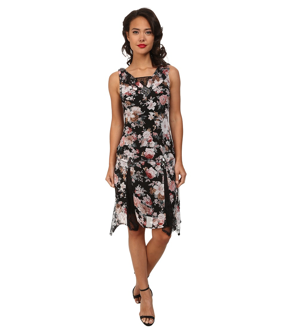 Unique Vintage - Hemingway Flapper Dress (Black Floral Print) Women