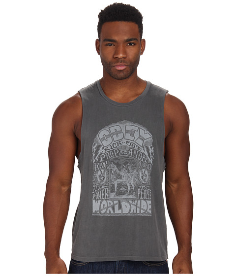 Obey - Peace Horse Moto Tank Top (Pewter) Men's Sleeveless