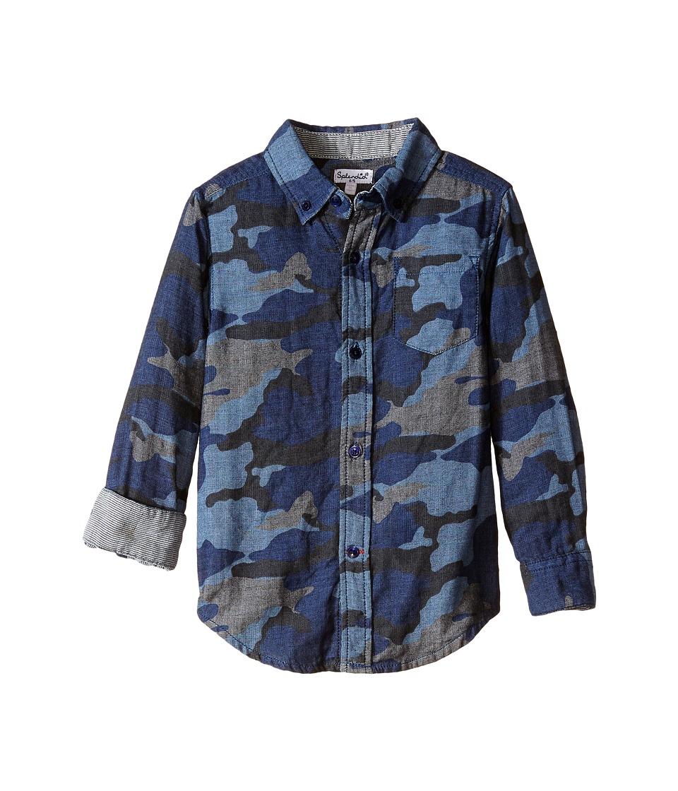 Splendid Littles - Long Sleeve Camo Print Woven Top (Little Kids) (Royal Blue) Boy