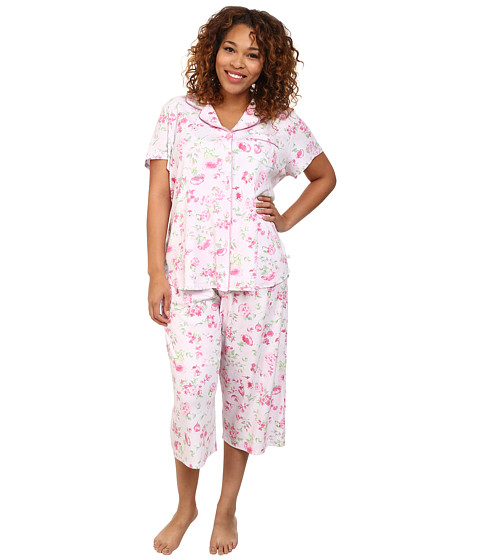 Karen Neuburger - Plus Size Muse Short Sleeve Girlfriend Crop PJ (Floral/Pink) Women's Pajama Sets
