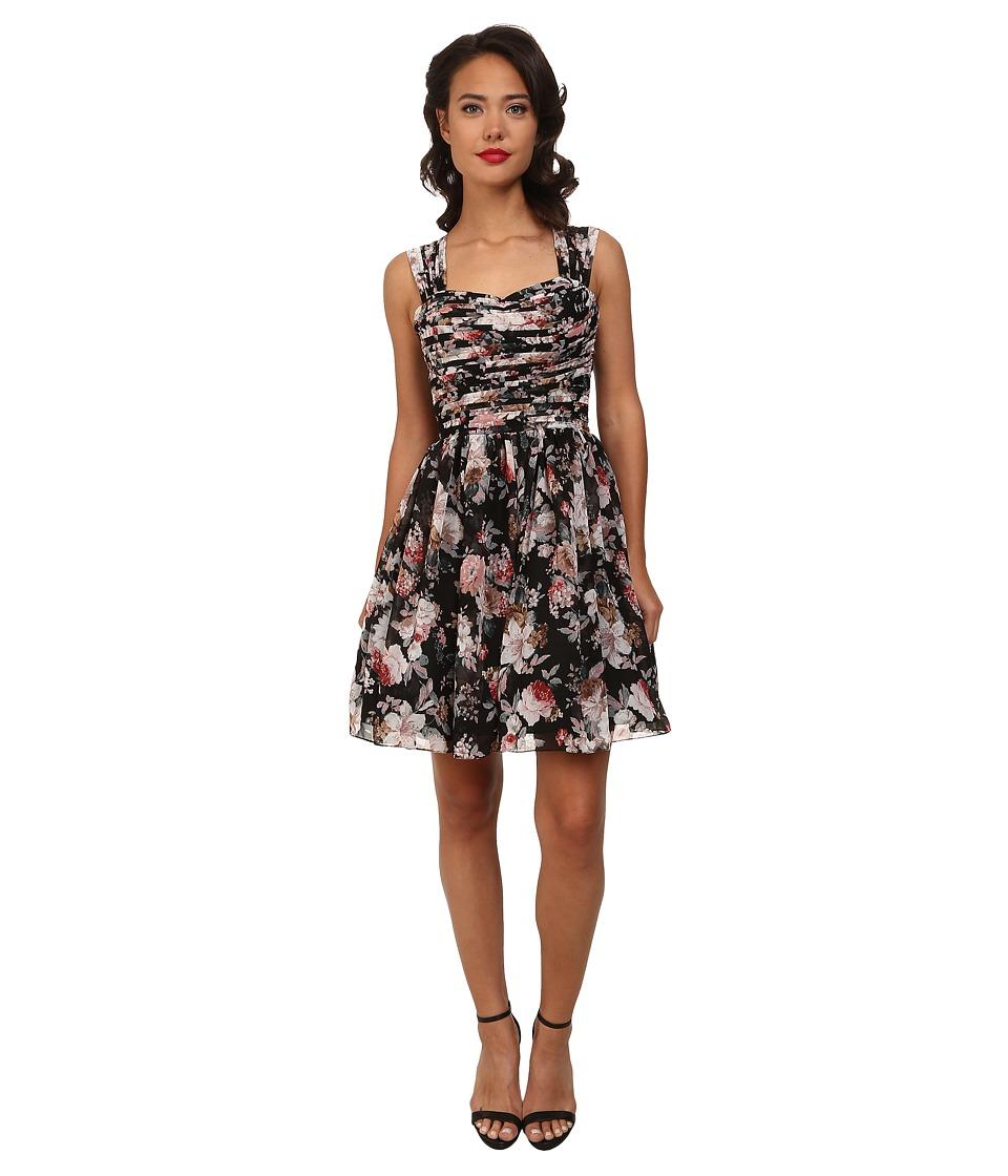 Unique Vintage Short Garden State Dress (Black Floral Print) Women