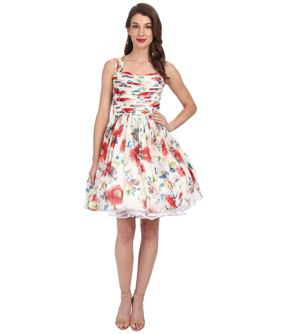 Unique Vintage - Short Garden State Dress (Ivory Floral Print) Women's Dress