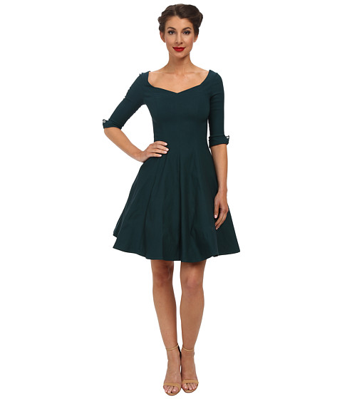 Unique Vintage - 3/4 Sleeve Grace Dress (Peacock) Women