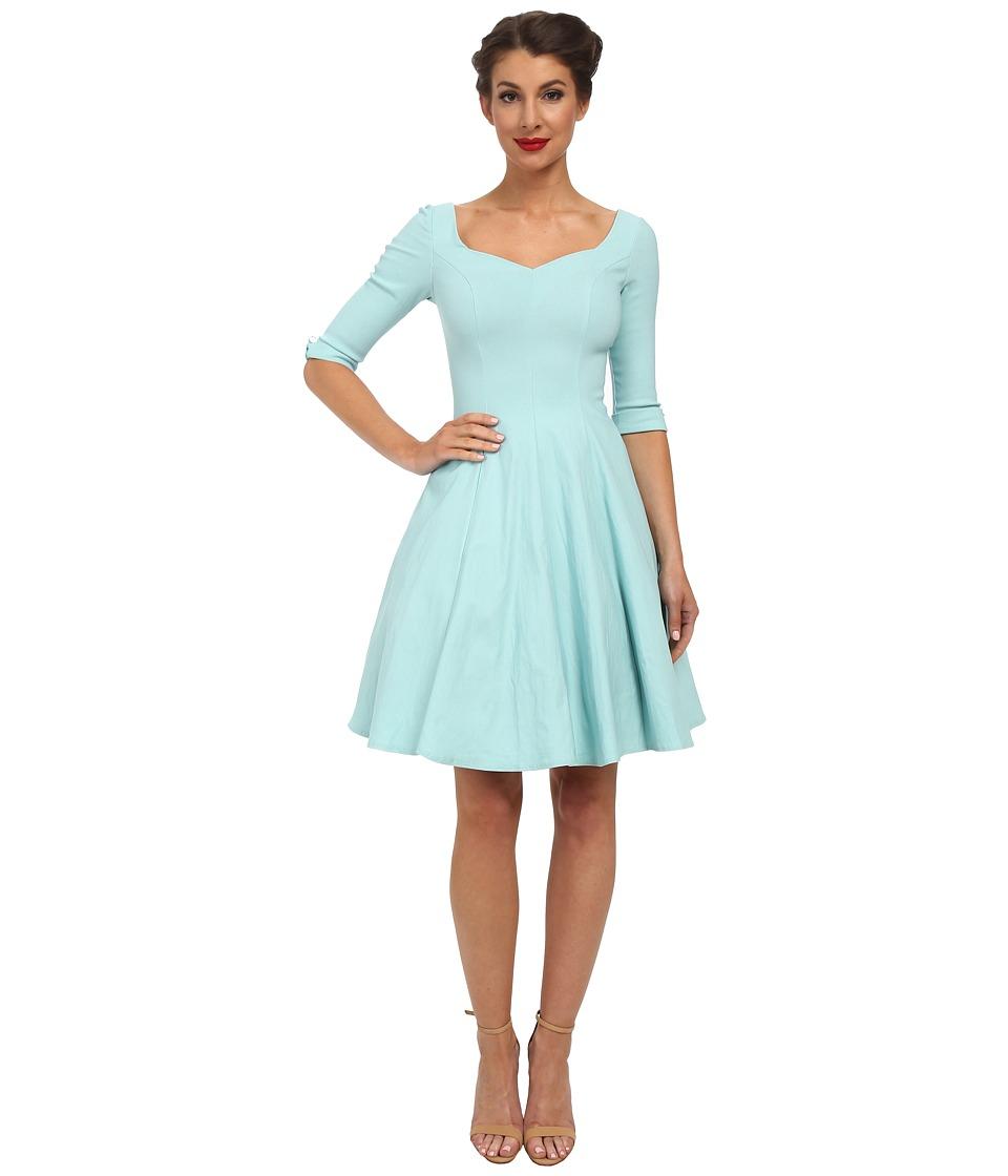 Unique Vintage - 3/4 Sleeve Grace Dress (Sky Blue) Women
