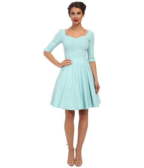 Unique Vintage - 3/4 Sleeve Grace Dress (Sky Blue) Women