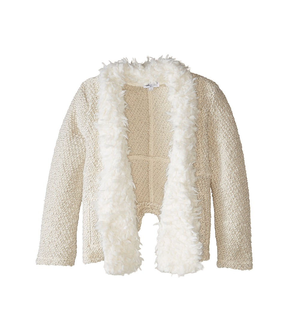 Splendid Littles - Knit Fur Open Jacket (Little Kids) (Cream) Girl's Coat