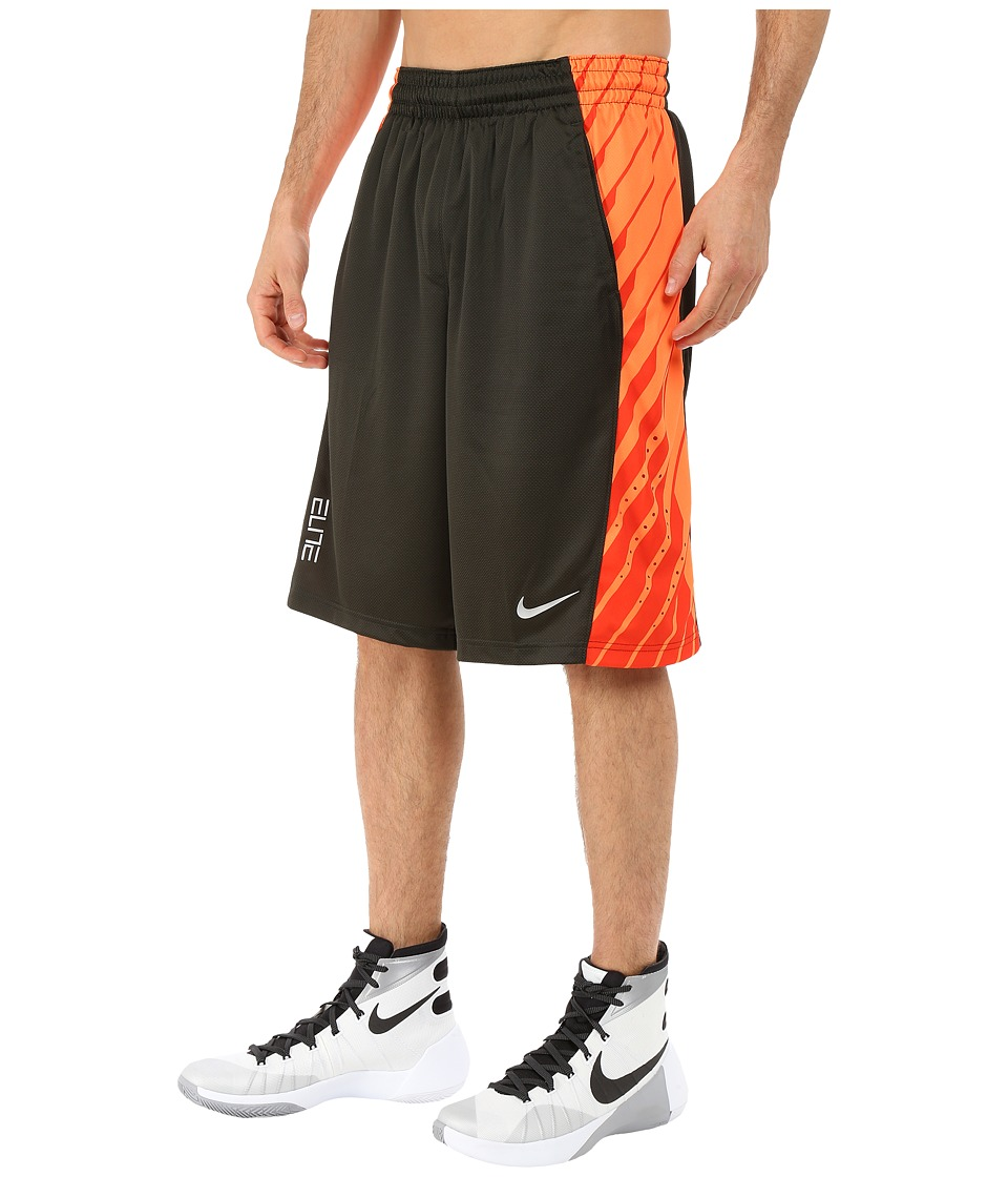 Nike - Elite Powerup Shorts (Sequoia/Bright Citrus/Team Orange/Metallic Silver) Men's Shorts