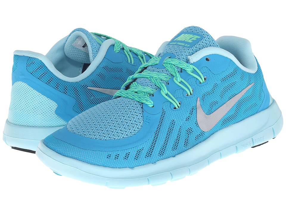 Nike Kids - Free 5 (Little Kid) (Blue Lagoon/Midnight Navy/Copa/Metallic Silver) Girls Shoes