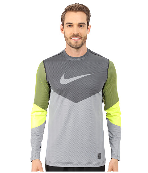 Nike - Hyperwarm Dri-FIT Max Fitted Lines Long Sleeve Shirt (Volt/Black) Men's T Shirt