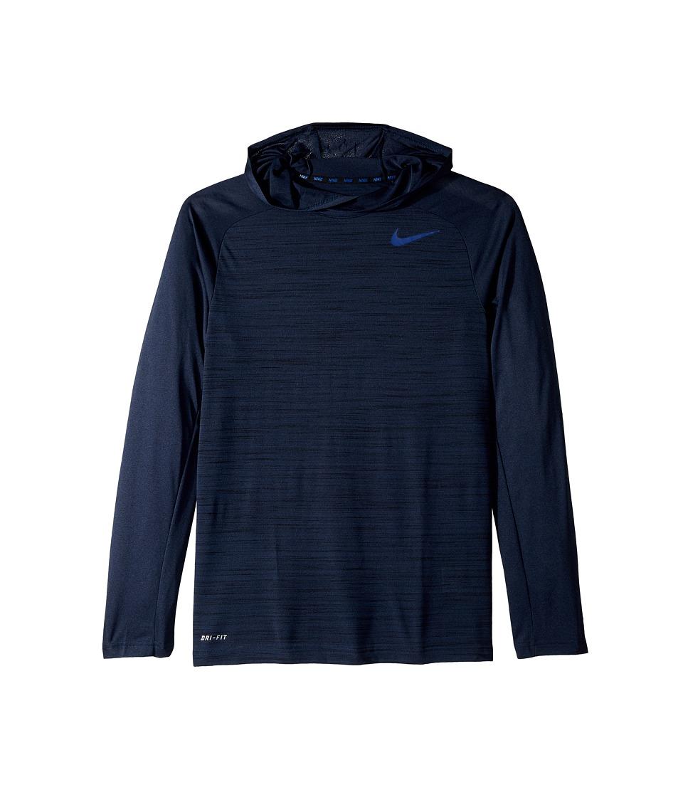 Nike - Dri-Fit Touch Long Sleeve Hoodie (Obsidian/Black/Deep Royal Blue) Men