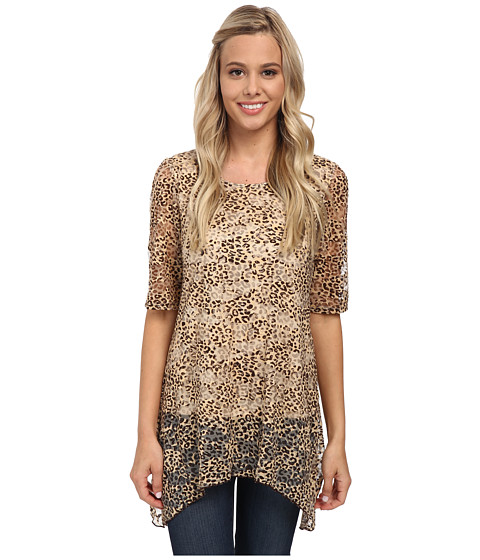 Christin Michaels - Animal Printed Stretch Lace Scoop Neck Top (Brown) Women's Short Sleeve Pullover