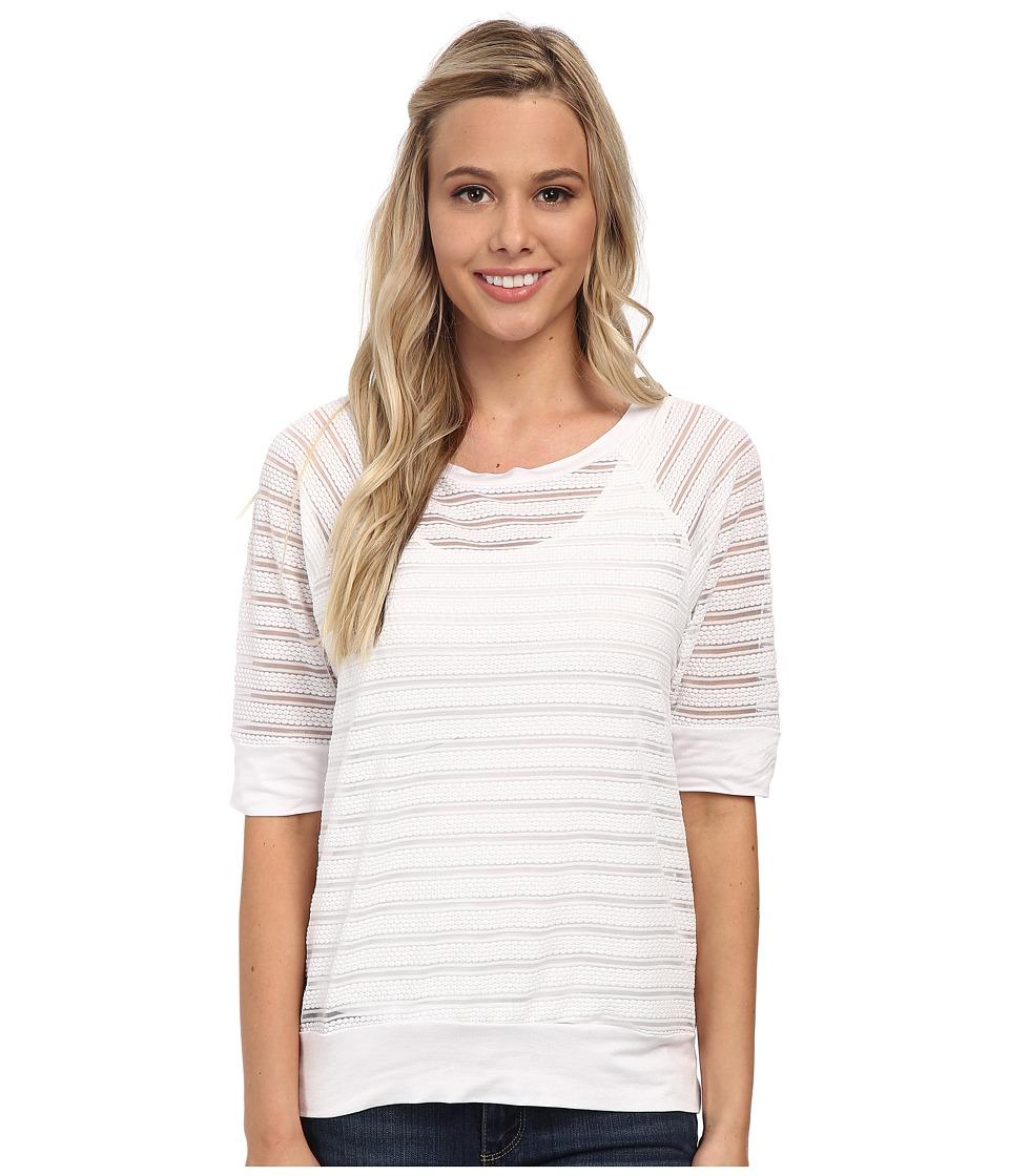 Christin Michaels - Sunday Burnout Stripe Sweater (White) Women's Sweater