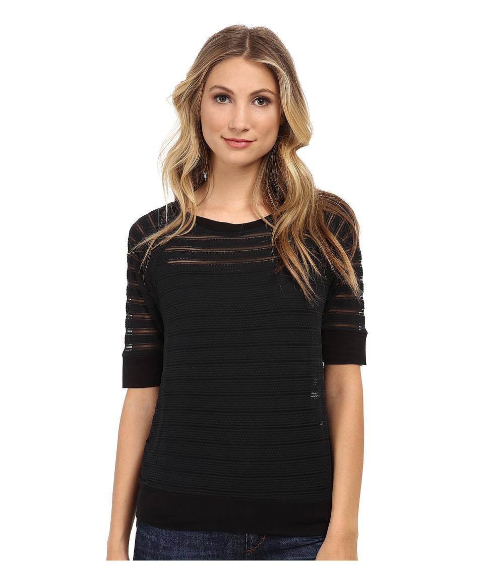 Christin Michaels - Sunday Burnout Stripe Sweater (Black) Women's Sweater