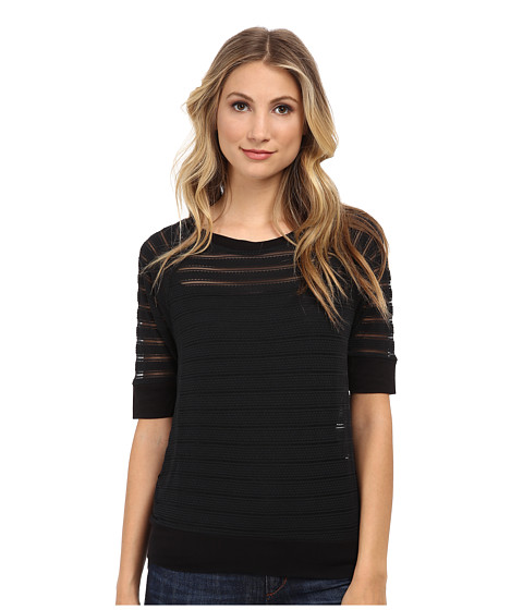 Christin Michaels - Sunday Burnout Stripe Sweater (Black) Women's Sweater