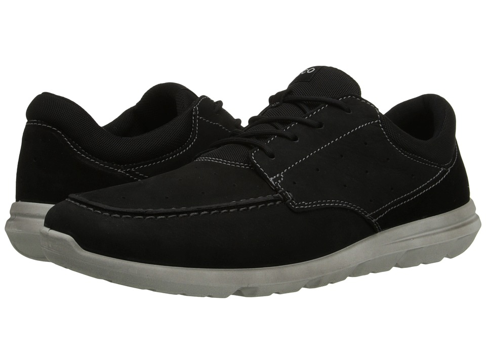 ECCO Sport - Calgary Moc (Black/Black) Men's Lace Up Moc Toe Shoes
