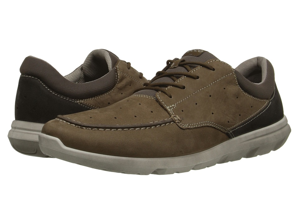 ECCO Sport - Calgary Moc (Birch/Licorice) Men's Lace Up Moc Toe Shoes