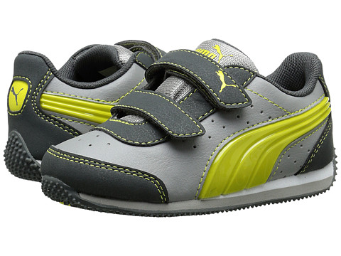 Puma Kids - Speed Light Up V (Toddler/Little Kid/Big Kid) (Steel Grey/Blazing Yellow/Drizzle) Boys Shoes