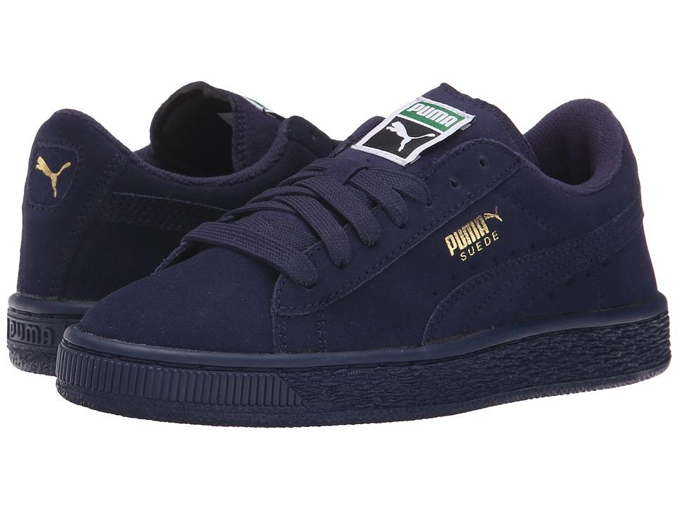 Puma Kids - Suede Jr (Little Kid/Big Kid) (Peacoat/Peacoat) Kids Shoes