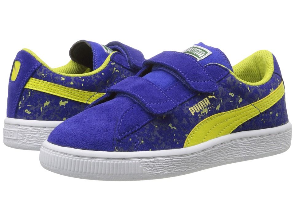 Puma Kids - Suede W Camo V (Toddler/Little Kid/Big Kid) (Surf The Web/Sulphur Spring/Peacoat) Boys Shoes