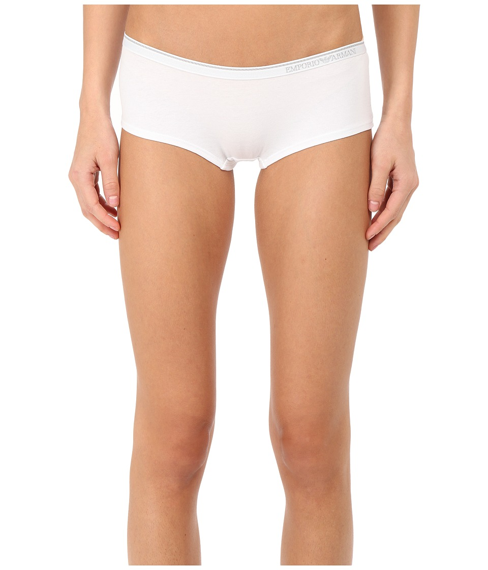 Emporio Armani - Essential Stretch Cotton Cheeky Pants (White) Women