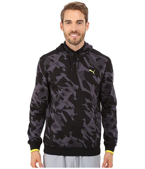 PUMA - Lightweight Hooded Henley (Black/Periscope/Print) Men