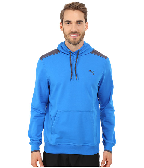 PUMA - Lightweight Hooded Henley (Electric Blue Lemonade) Men