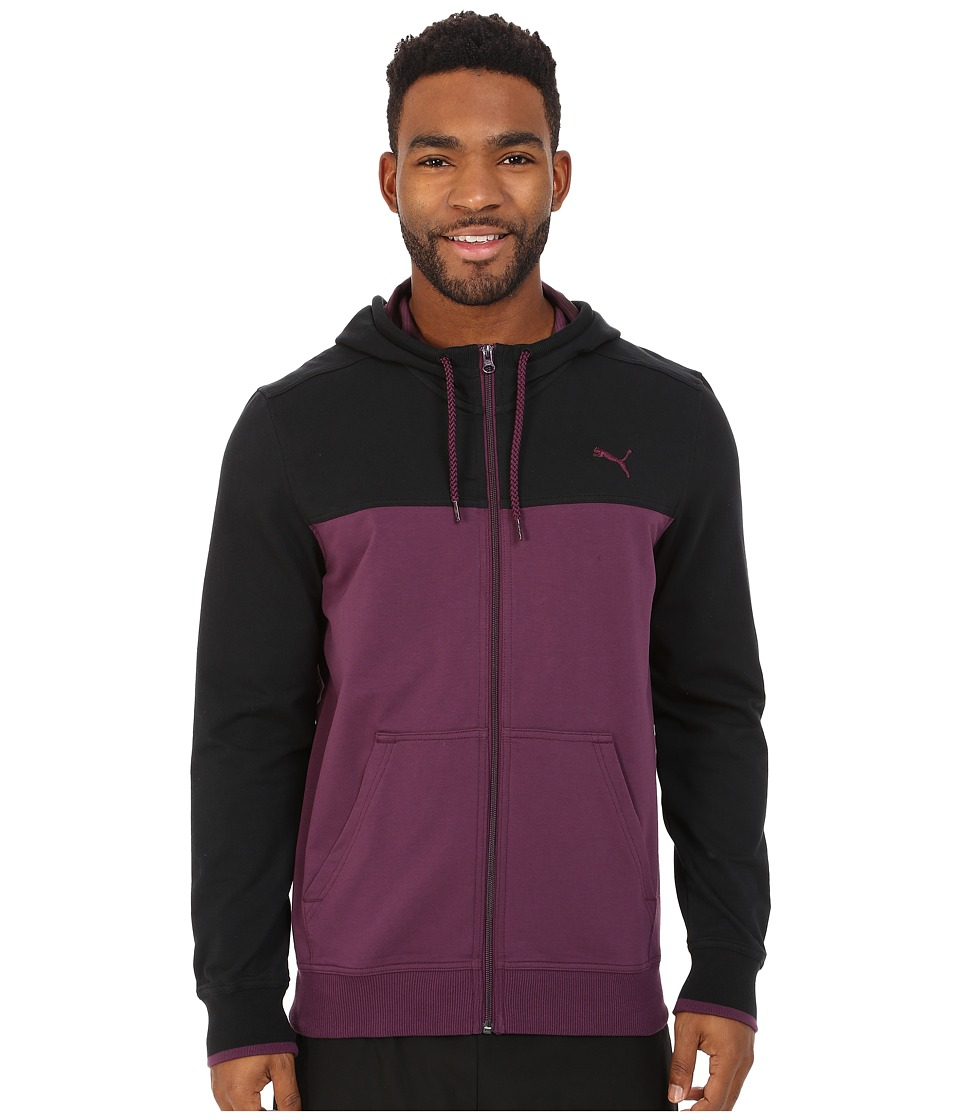 PUMA - Full Zip Lightweight Hoodie (Italian Plum/Black) Men