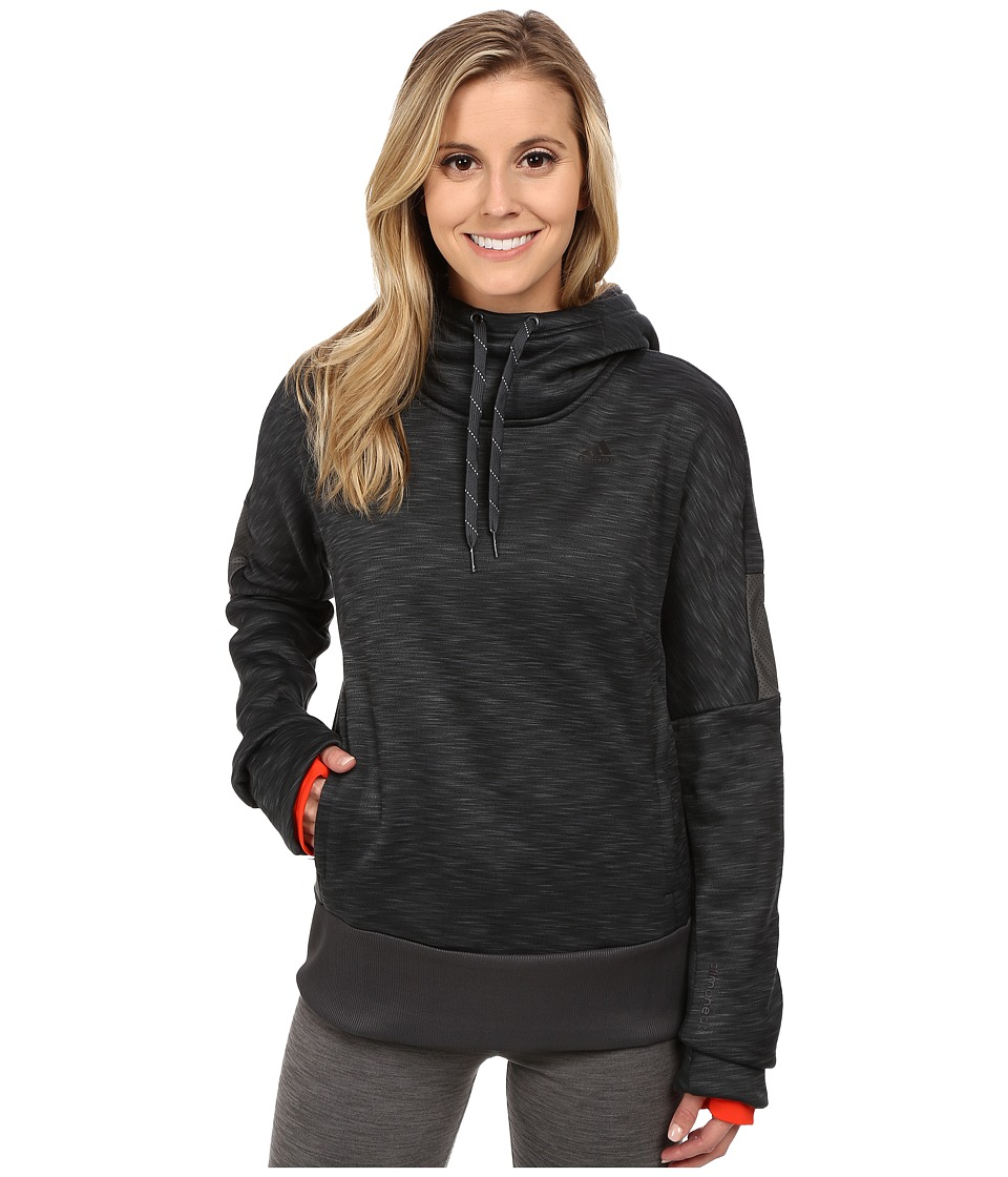 adidas - Beyond The Run Climaheat Pullover Hoodie (Heat Dark Grey Melange/Bold Orange) Women