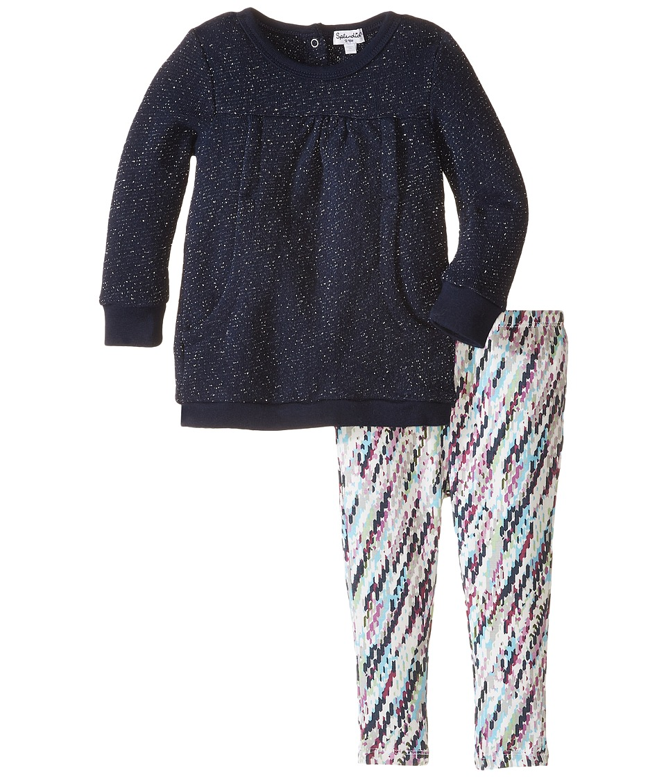 Splendid Littles - Sparkle Fleece Print Set (Infant) (Navy) Girl