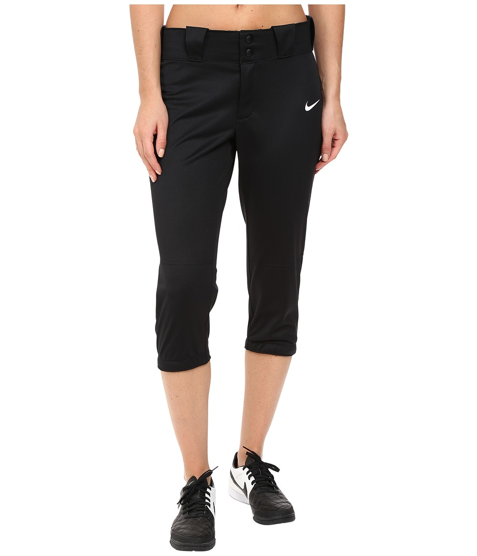Nike - Diamond Invader 3/4 Softball Pant (Black) Women's Workout