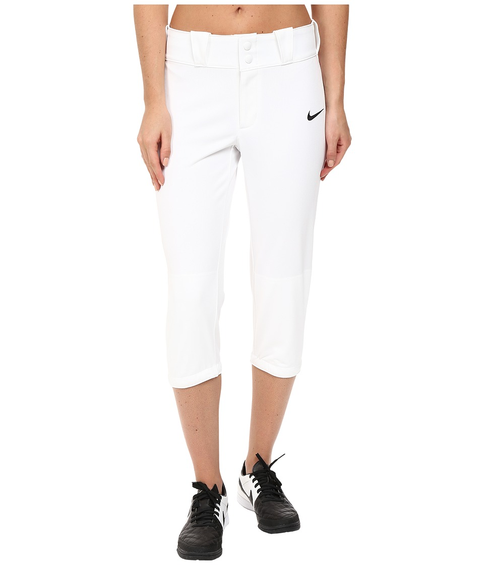 Nike - Diamond Invader 3/4 Softball Pant (White) Women's Workout