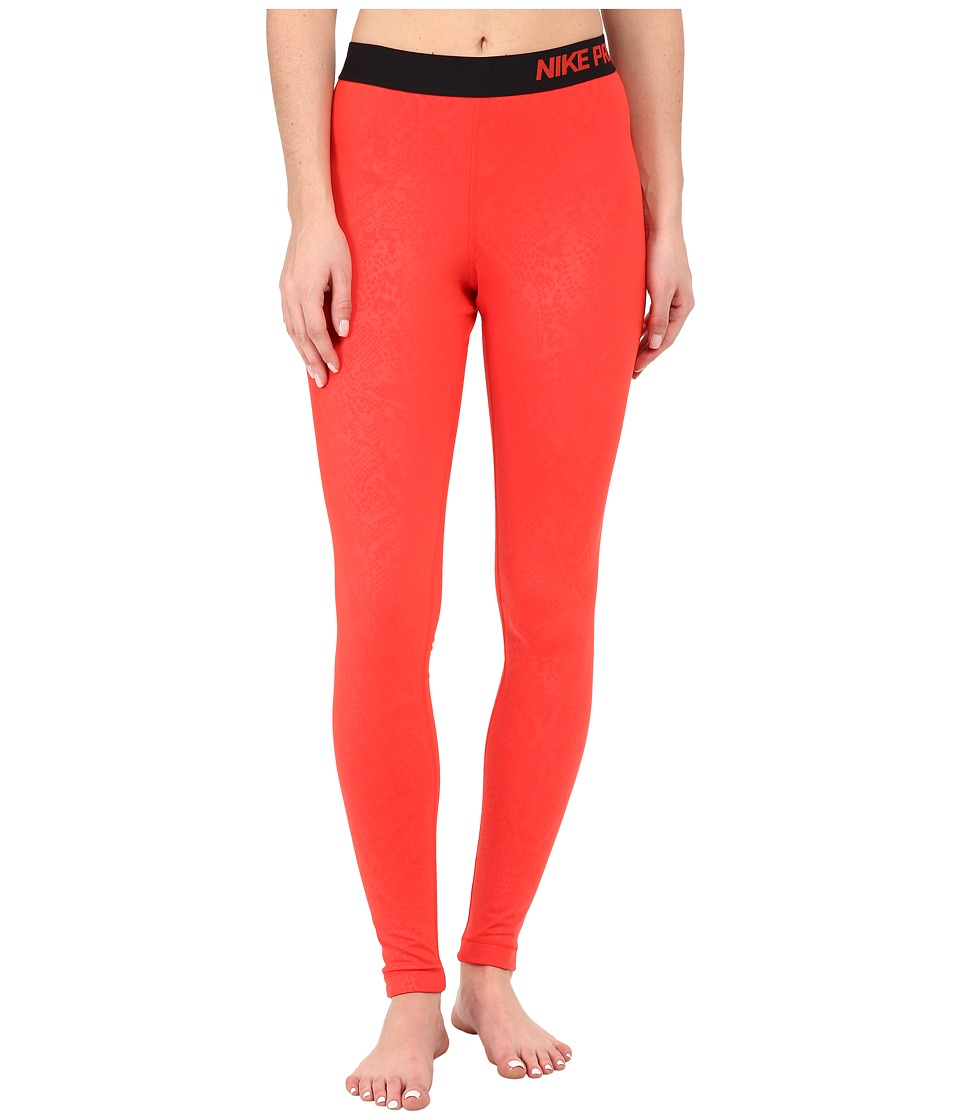 Nike - Pro Warm Embossed Vixen Tights (Light Crimson/Black) Women's Workout