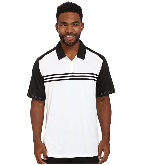 adidas Golf - CLIMACOOL Engineered 3-Stripes Polo (White/Black) Men's Short Sleeve Knit