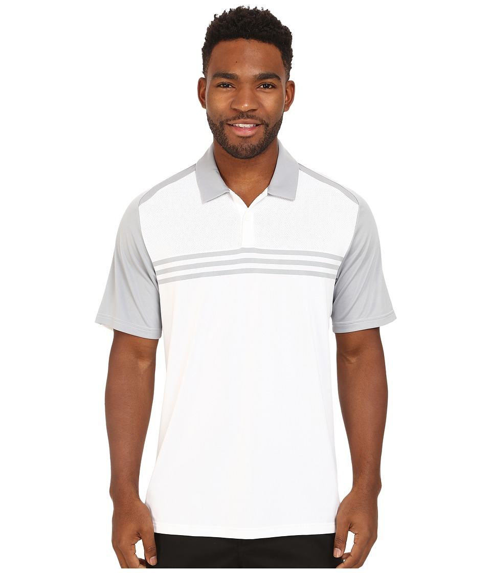 adidas Golf - CLIMACOOL Engineered 3-Stripes Polo (White/Mid Grey) Men
