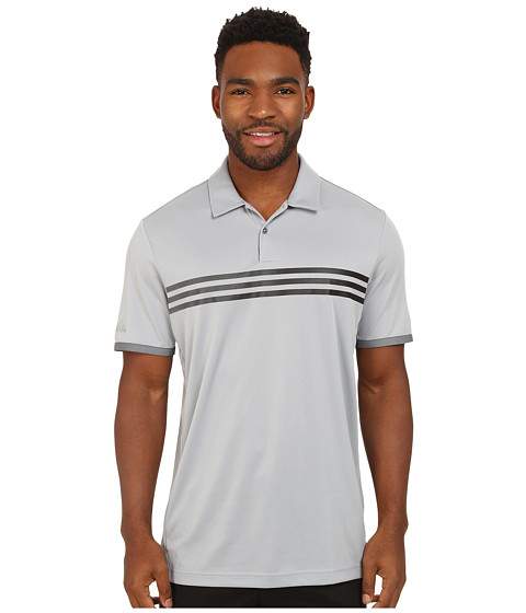 adidas Golf - CLIMACHILL Gradient 3-Stripes Polo (Mid Grey/Vista Grey/Black) Men