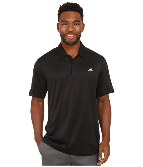 adidas Golf - CLIMACOOL Debossed 3-Stripes Polo (Black) Men's Short Sleeve Knit