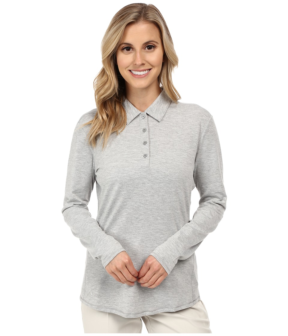 adidas Golf - Essentials Heather Long Sleeve Polo (Medium Grey Heather) Women