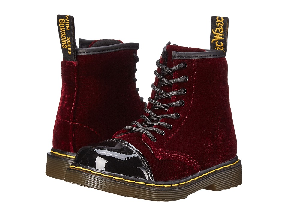 Dr. Martens Kid's Collection - Bunny (Toddler) (Black/Cherry Red Patent Lamper/Ze You Velvet) Kids Shoes