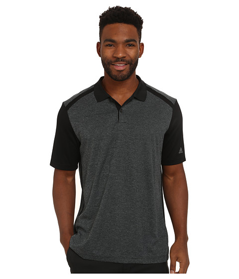 adidas Golf - CLIMACOOL Heather Microstripe Polo (Medium Grey Heather/Black) Men