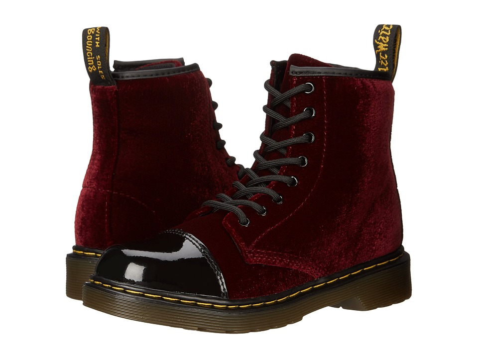 Dr. Martens Kid's Collection - Pooch (Little Kid/Big Kid) (Black/Cherry Red Patent Lamper/Ze You Velvet) Kids Shoes