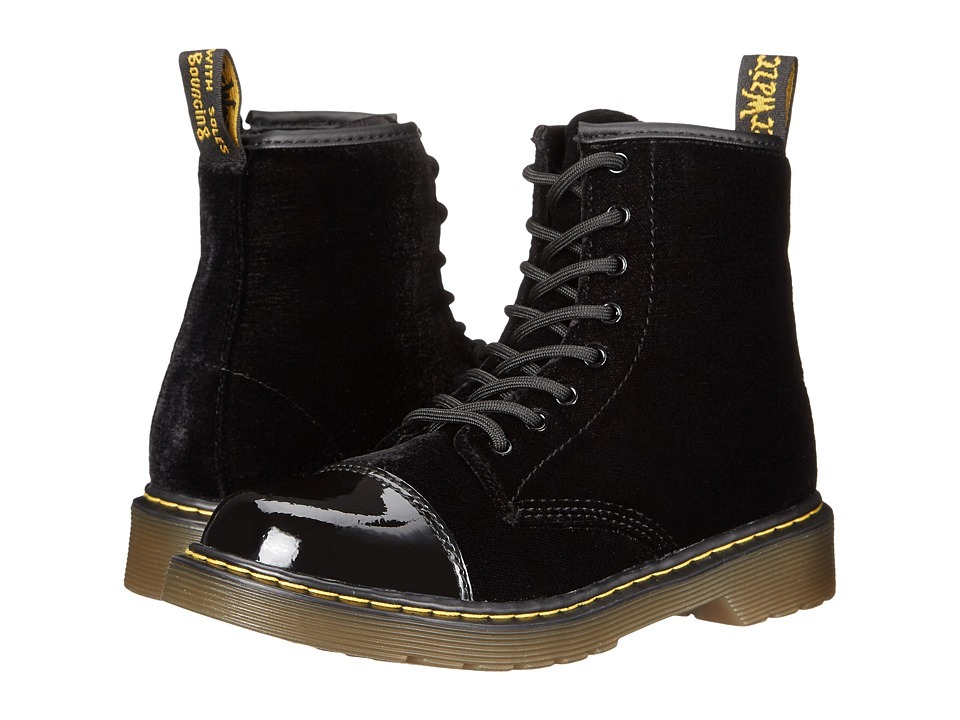 Dr. Martens Kid's Collection - Pooch (Little Kid/Big Kid) (Black/Black Patent Lamper/Ze You Velvet) Kids Shoes