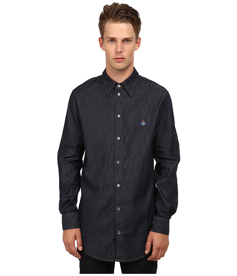 Vivienne Westwood MAN - Anglomania Tailored Long Shirt (Blue Denim) Men's Long Sleeve Button Up