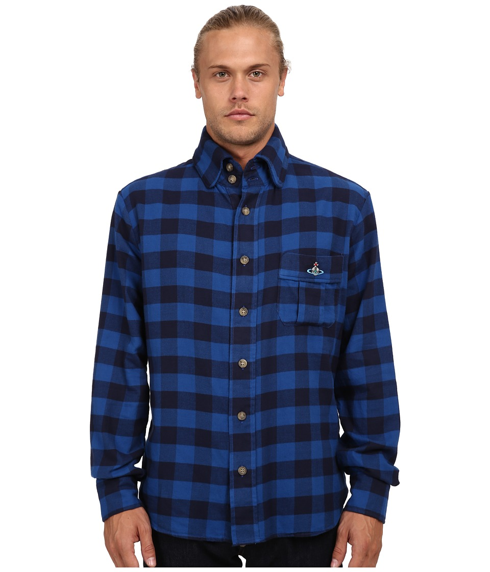 Vivienne Westwood MAN - Anglomania Padded Details Shirt (Blue/Black) Men's Long Sleeve Button Up