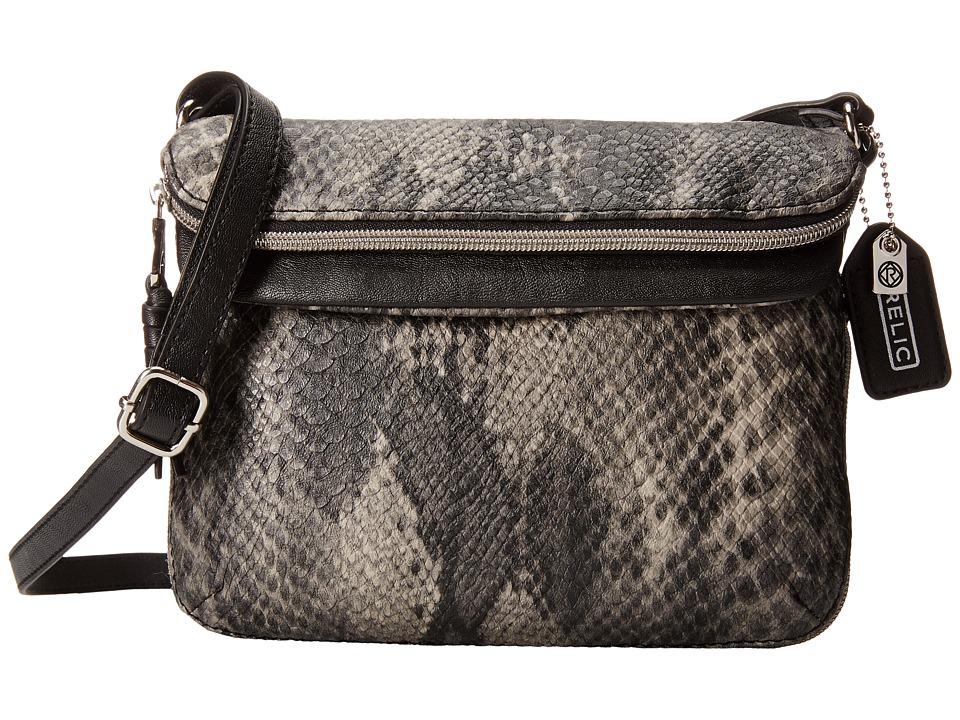 Relic - Cora East West Flap Crossbody (Black Snake) Cross Body Handbags